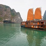 Halong Bay cruises don't look like this anymore; all are now painted white as required by local government