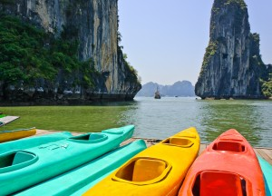 About to go sea kayaking in Halong Bay