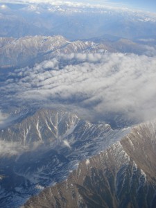 The Himalayan range as seen from my plane to Leh.