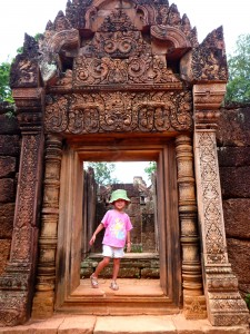 The kids loved the stories of the bas-reliefs at Angkor Wat as narrated by our guide.
