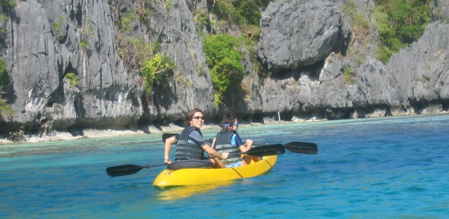 Kayaking around.