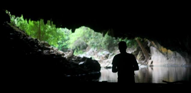 Me spelunking in Laos.