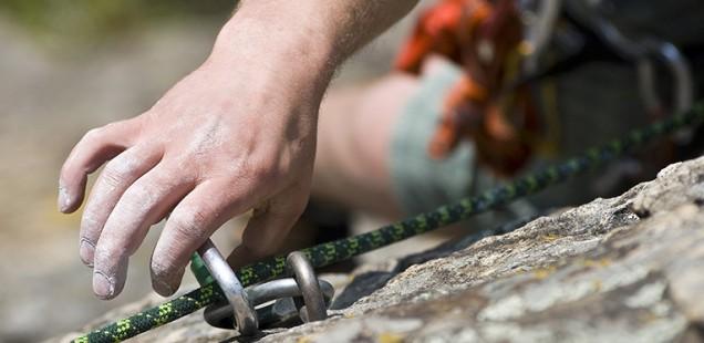 Rock climbing is hard work.