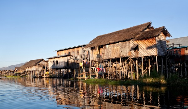 The floating villages on the Inle Lake.