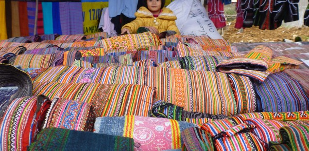 Colorful fabrics at street markets in Ho Chi Minh, Vietnam